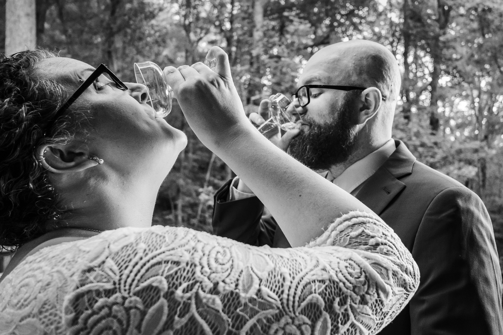 Northern GA Outdoor Wedding Images | A toast to each other