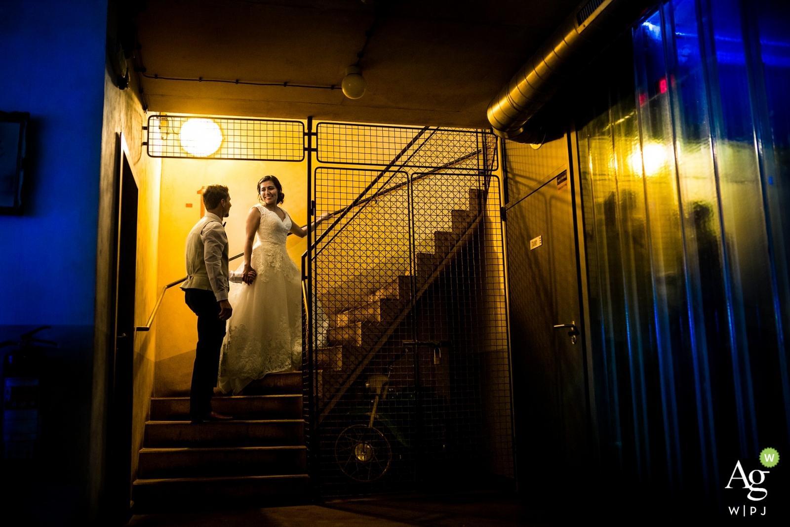 Prague Wedding Photographers   Image contains: bride, groom, portrait, dress, suit, stairwell