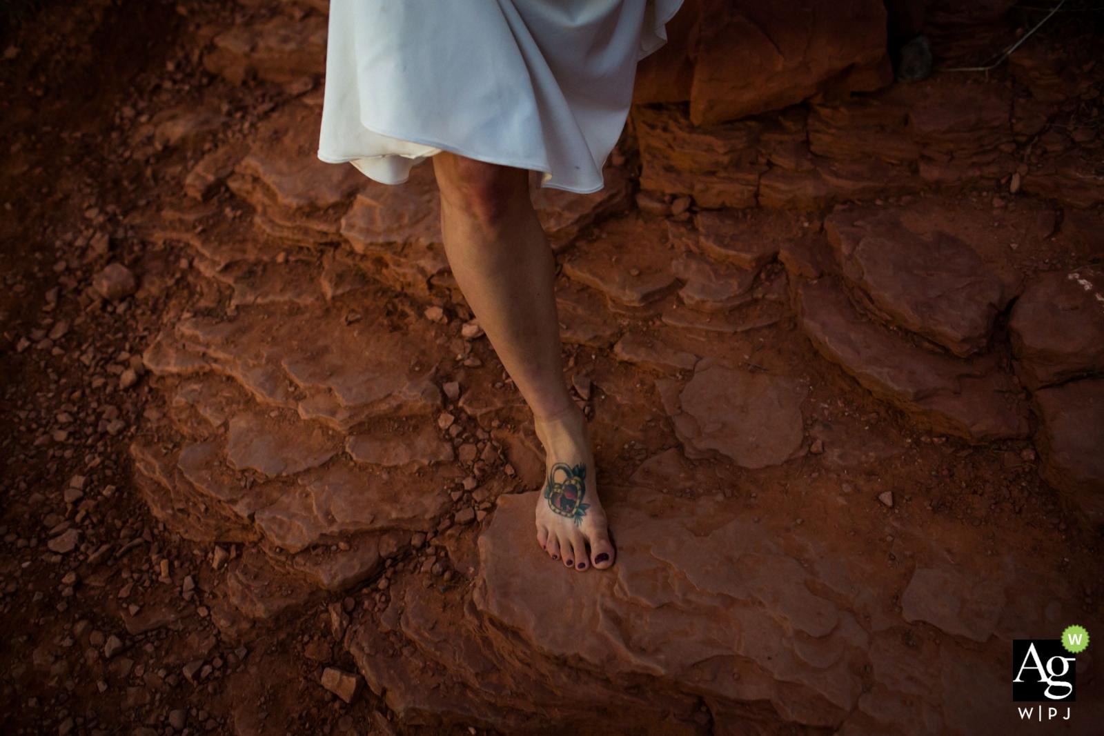Bridal tattoo, Sedona bride - Barefoot bride walking in Sedona