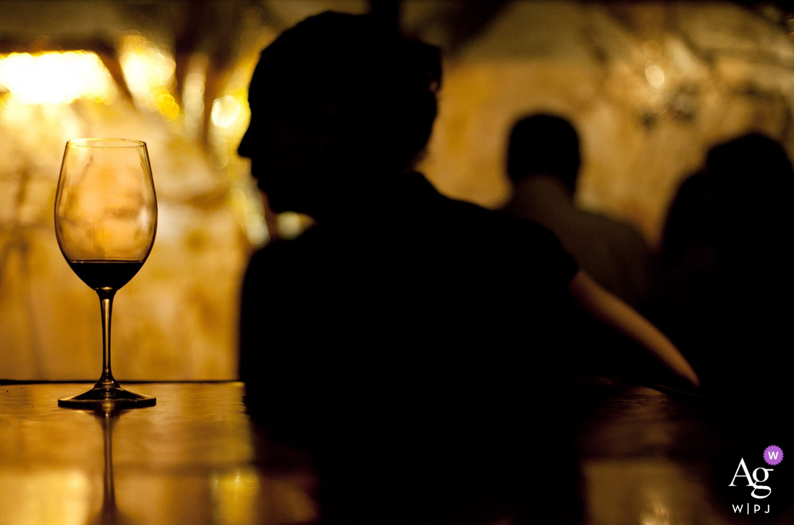 Phoenix artistic creative photography detail of wine glass with silhouette of man