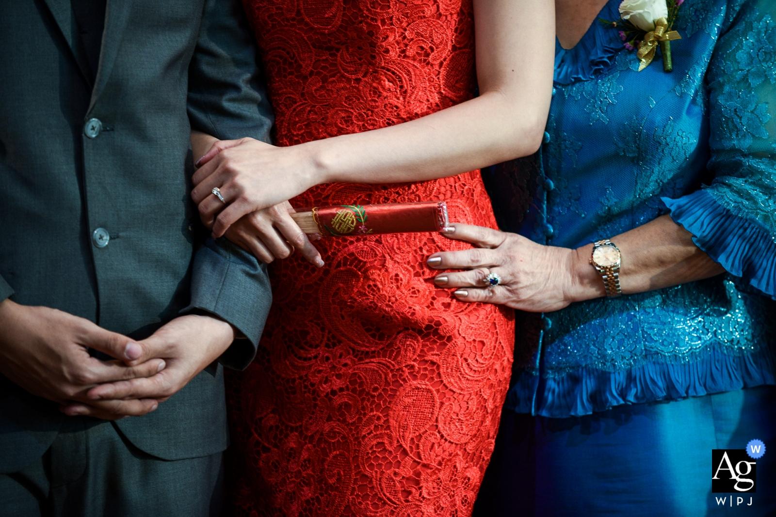 Bangkok creative wedding photography | detail of hands, arms and waists