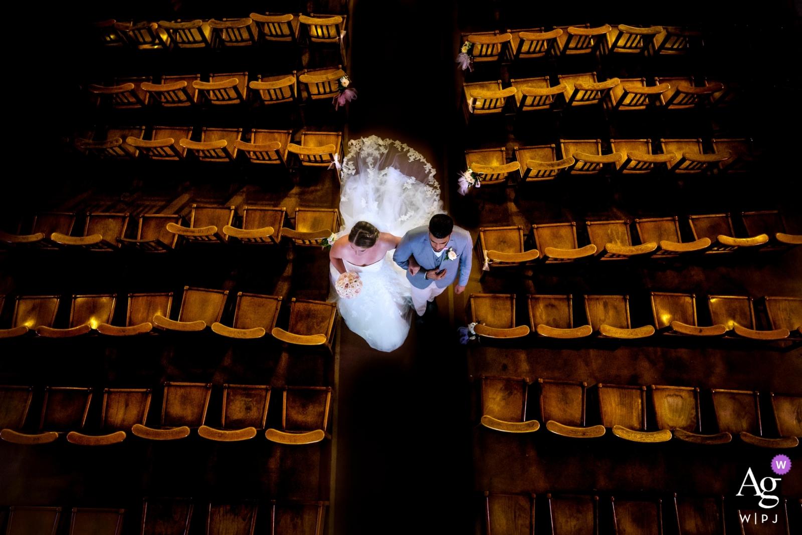 Hochzeitsporträtfotografie Pariss kreative der Braut und des Bräutigams vom obenliegenden Winkel