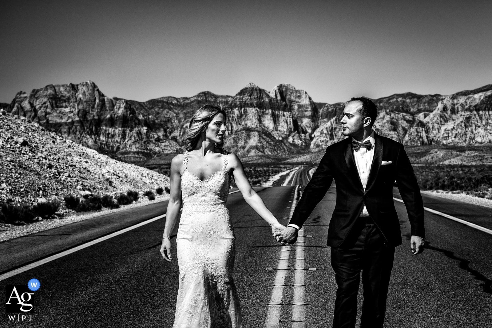 creative wedding day portrait session in the middle of the road with a Florence couple