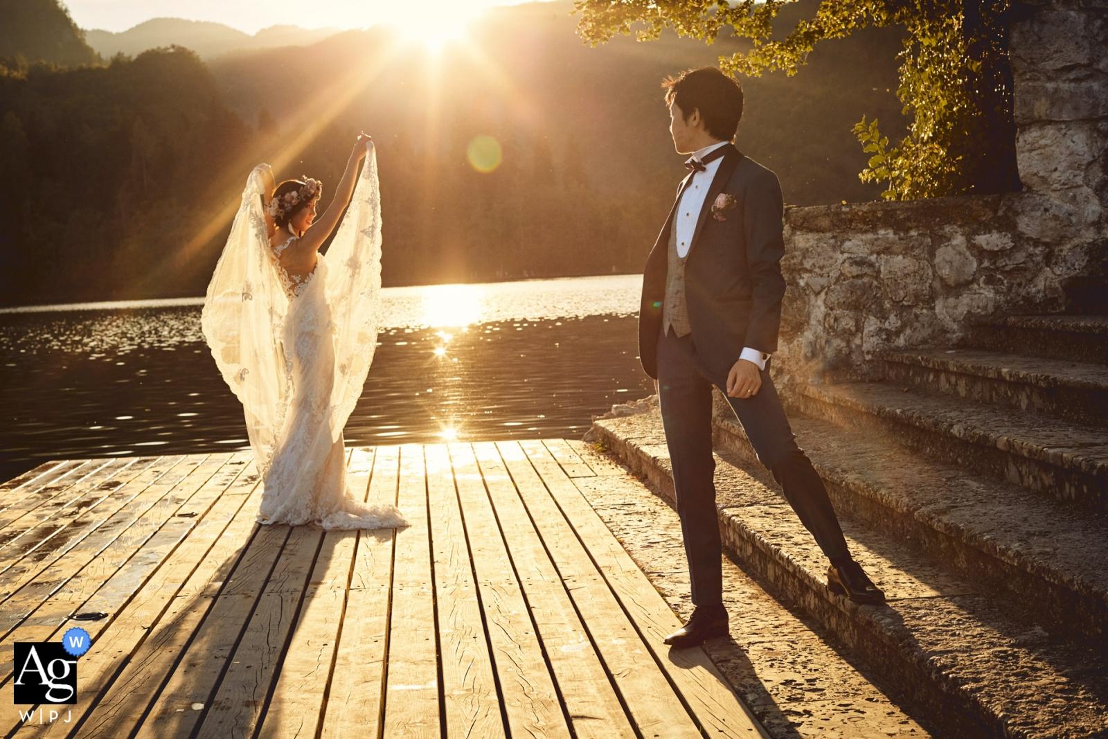 sous le soleil - Lac de Bled en Slovénie avec T & S