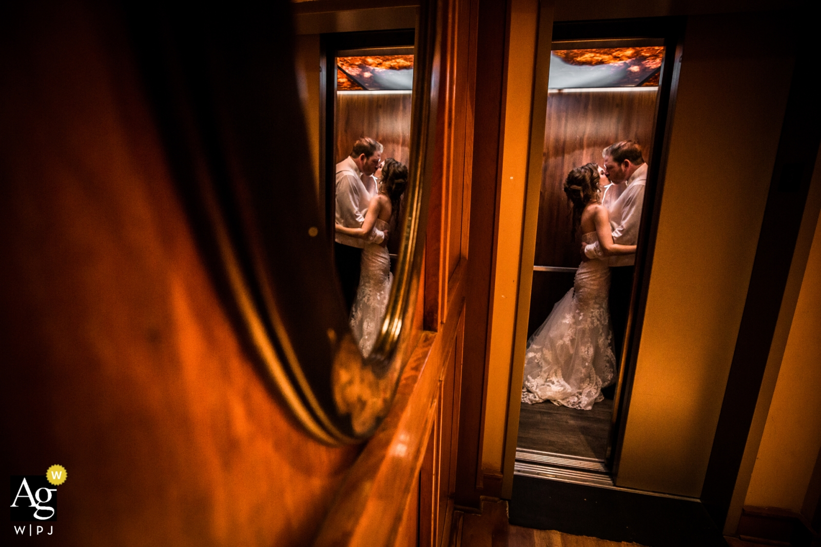 Wedding photograph Couple Love on an Elevator | Wedding day portaits captured in Minneapolis Minnepolis