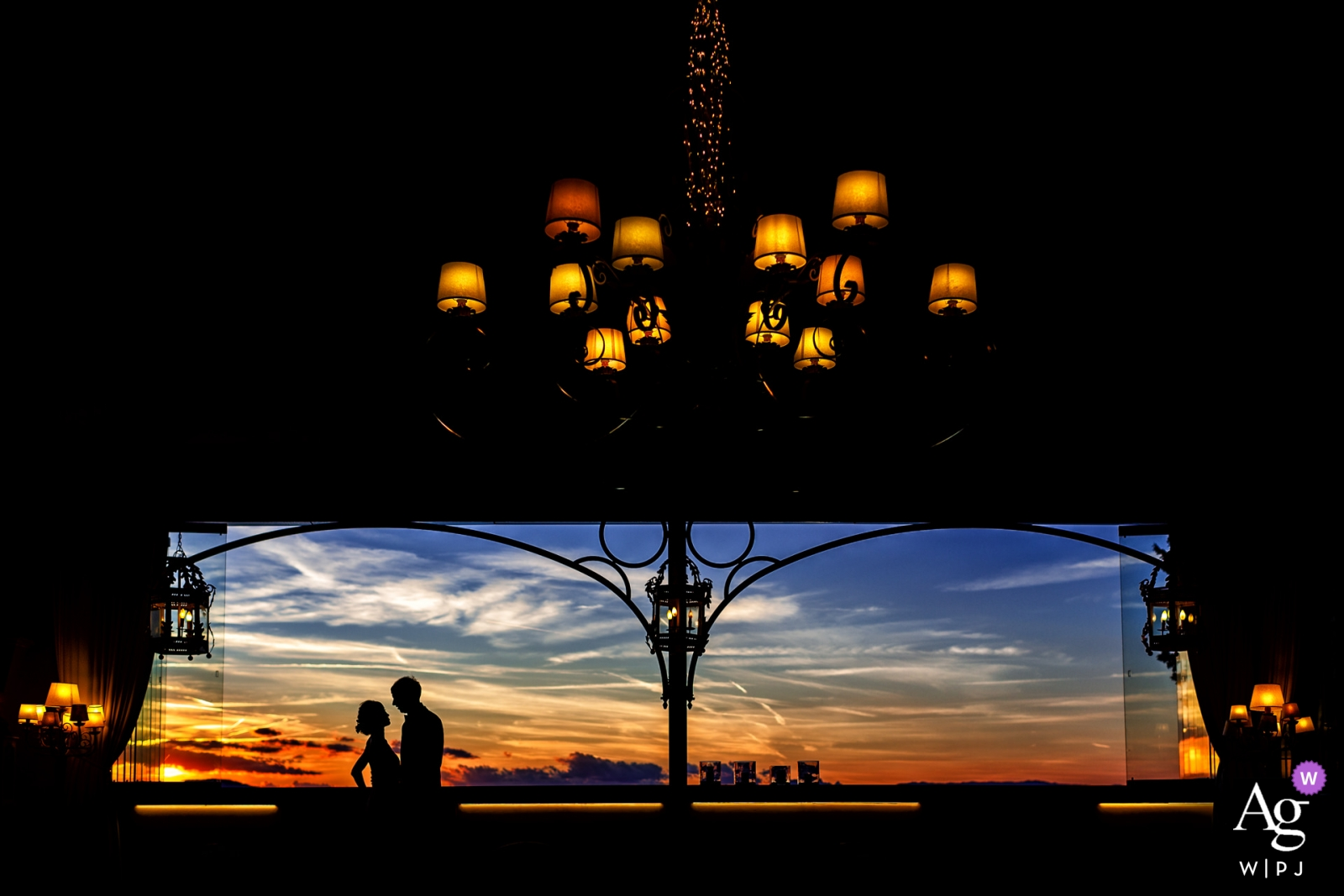 Tuscany wedding photograph | capturing wedding portraits of bride and groom indoors at sunset