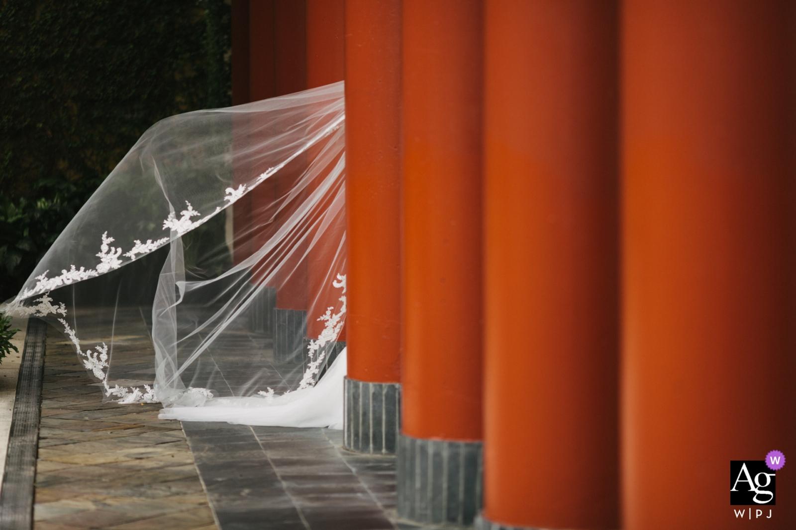 Détail de la photographie créative artistique de Miami du train du voile de la mariée