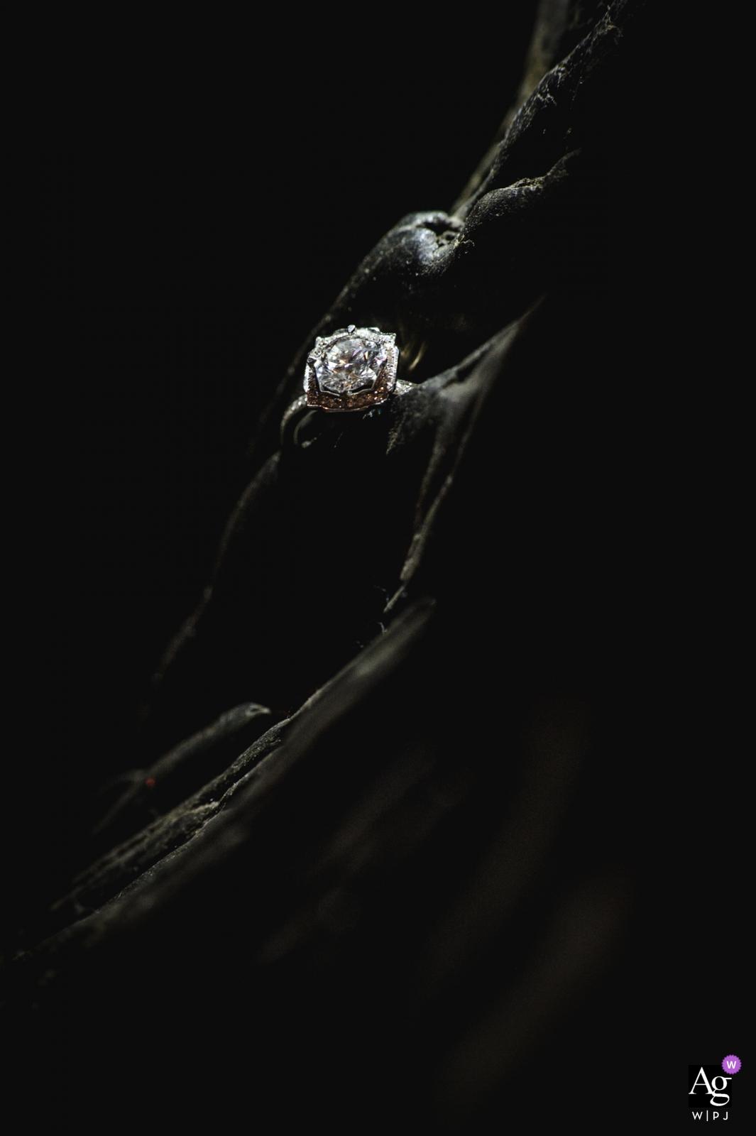 Changsha, China wedding ring detail with dramatic light