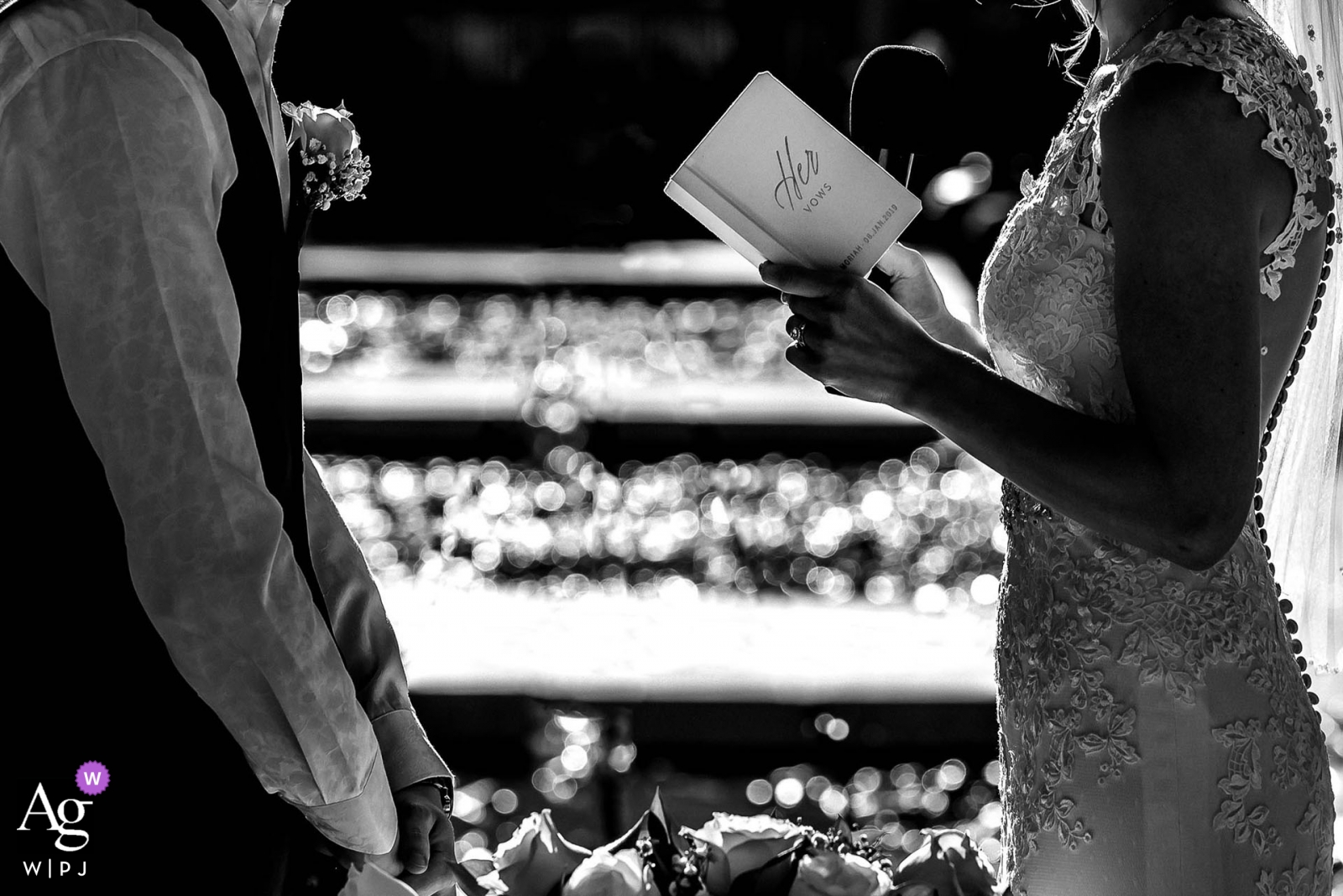 Punta Cana, Dominican Republic wedding photographer | detail image of bride reading her Vows during the ceremony