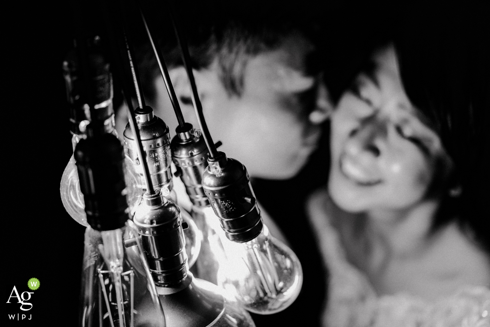 Taipei Taiwan bride and groom portrait with industrial bare bulb lighting