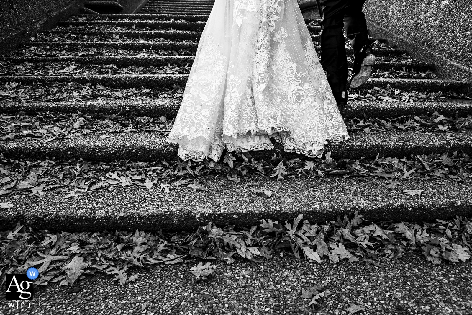 Bride and groom walking through the park near St. Frances Hall (Washington, DC) after their wedding ceremony