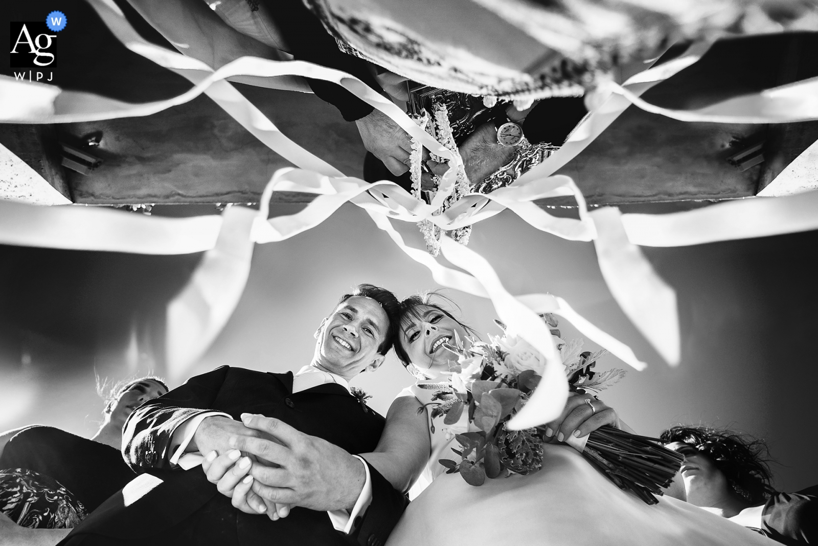 Wedding portrait of the bride and groom in Paxos, Greece | Black and white photography