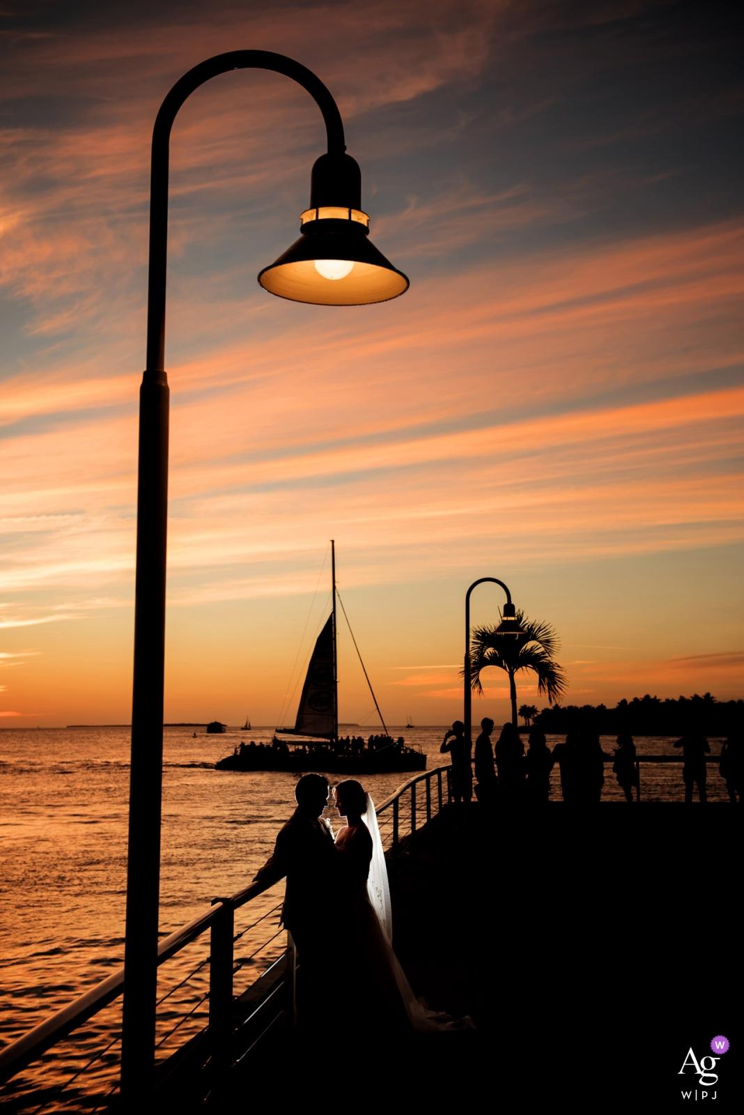 Key West Sunset Sail - Bride and Groom Lit Portrait