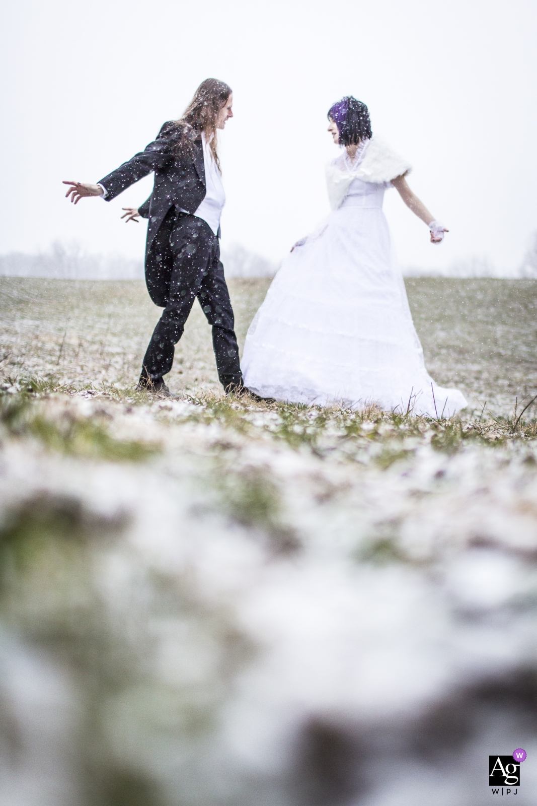 comus Inn; Dickerson, MD wedding photos - Bride and Groom dancing in the snow