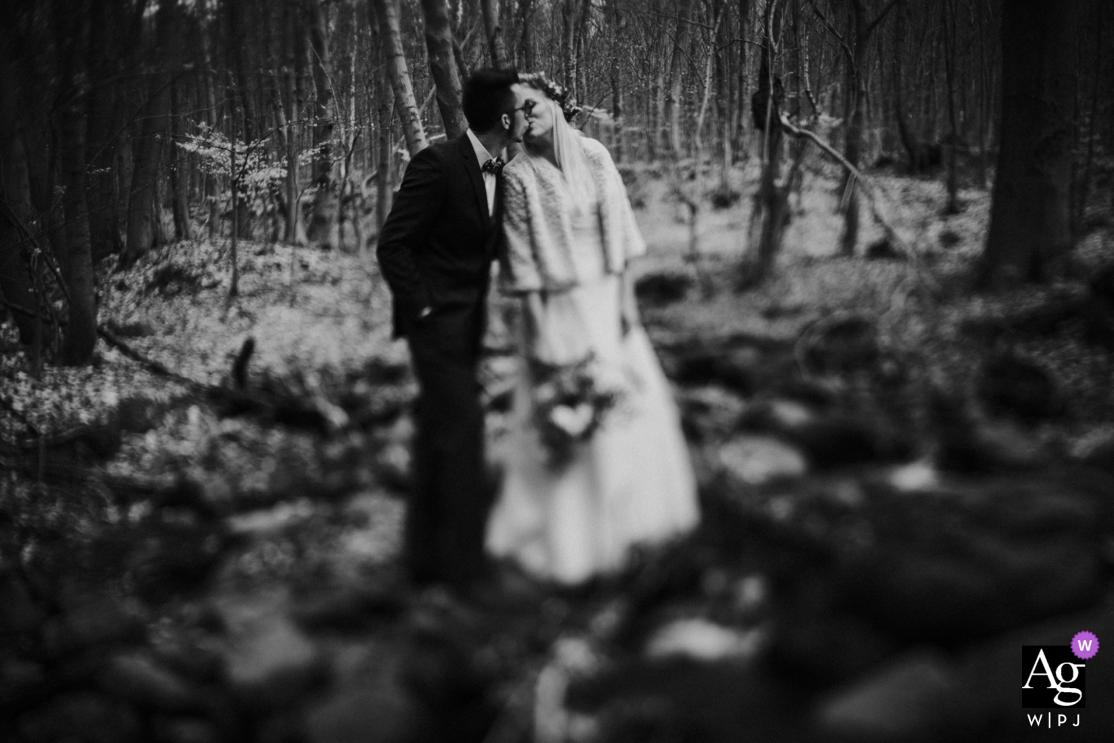 Gyongyossolymos, Hungary wedding portraits | photograph of the bride and groom kissing in the forest (tilt-shift)