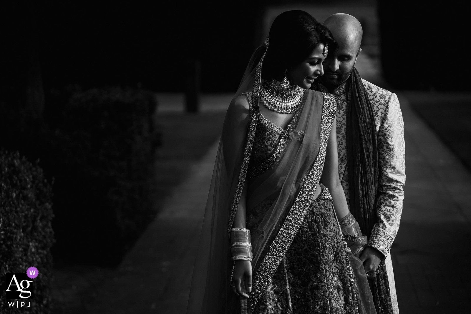 London Bride and Groom Portrait in black and white on wedding day