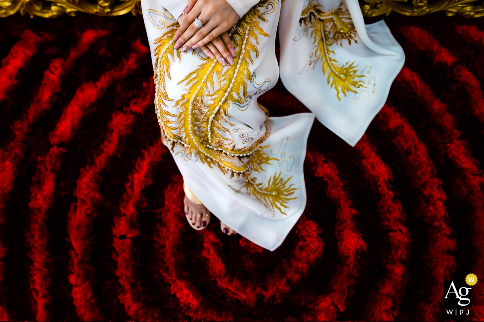 Vietnam HCMC wedding day photography | Detail Image of her hands dress and feet