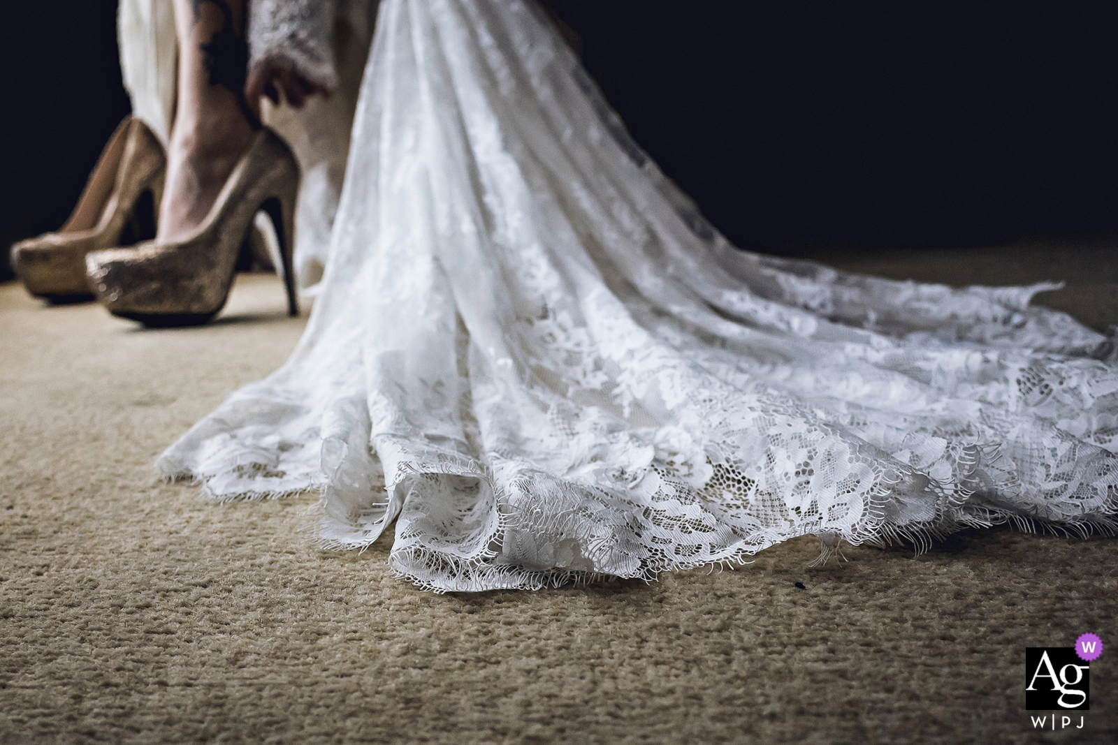 Hotel Preparation process wedding photography | getting ready details of the brides shoes and dress