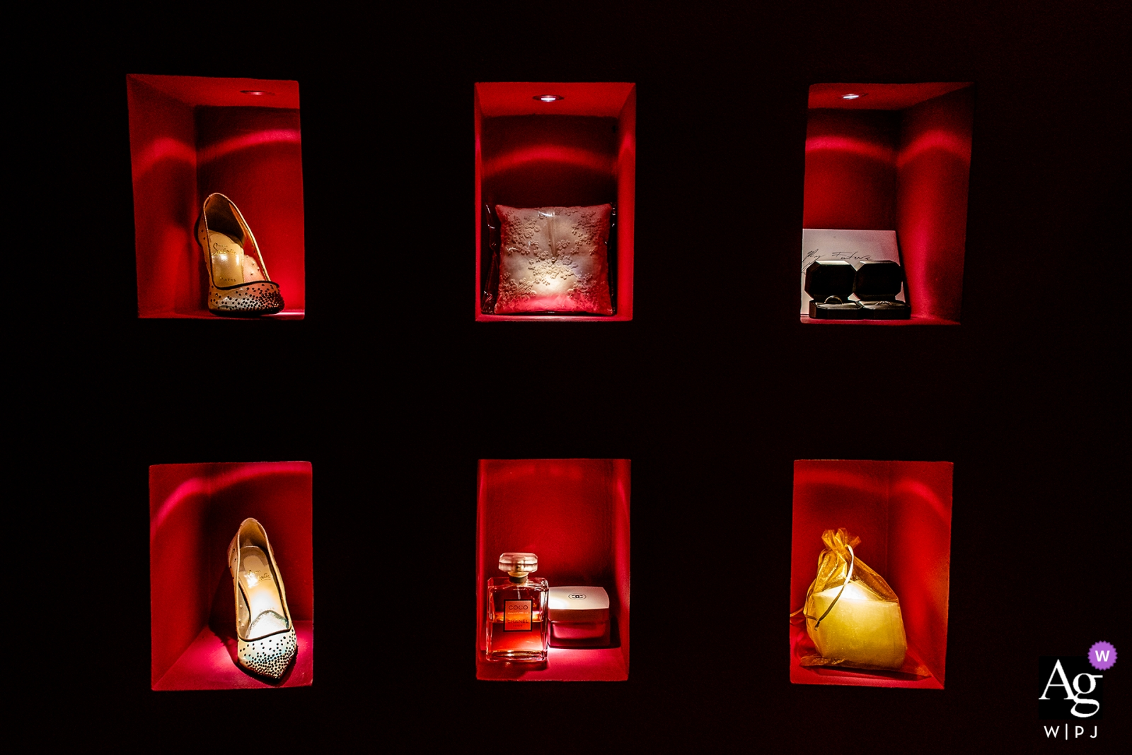 Hotel Xcaret Mexico wedding photographer | Bride accessories detail in small red cubicles