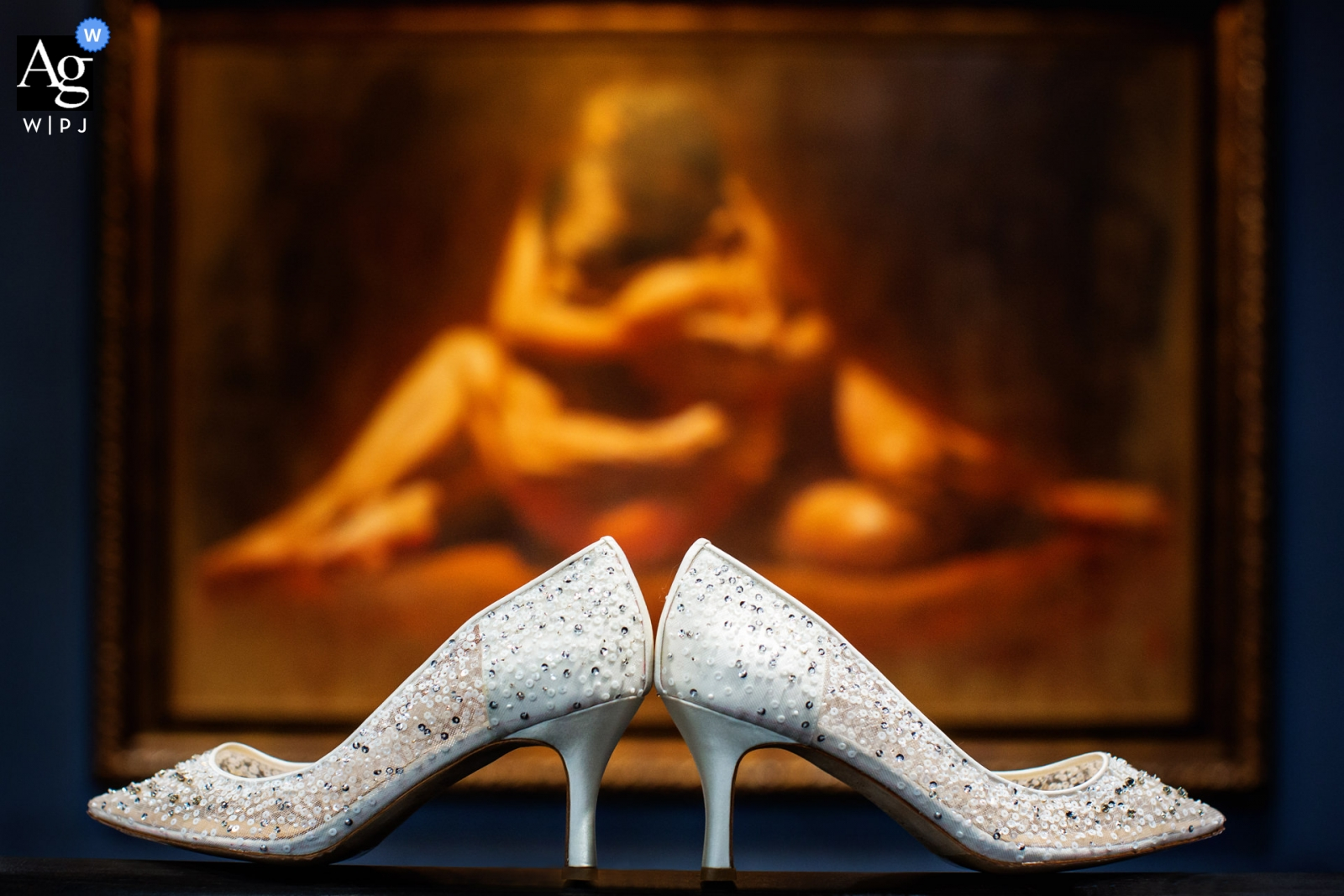 Ryland Inn New Jersey Wedding photographer | the brides shoes symmetrically placed before a painting
