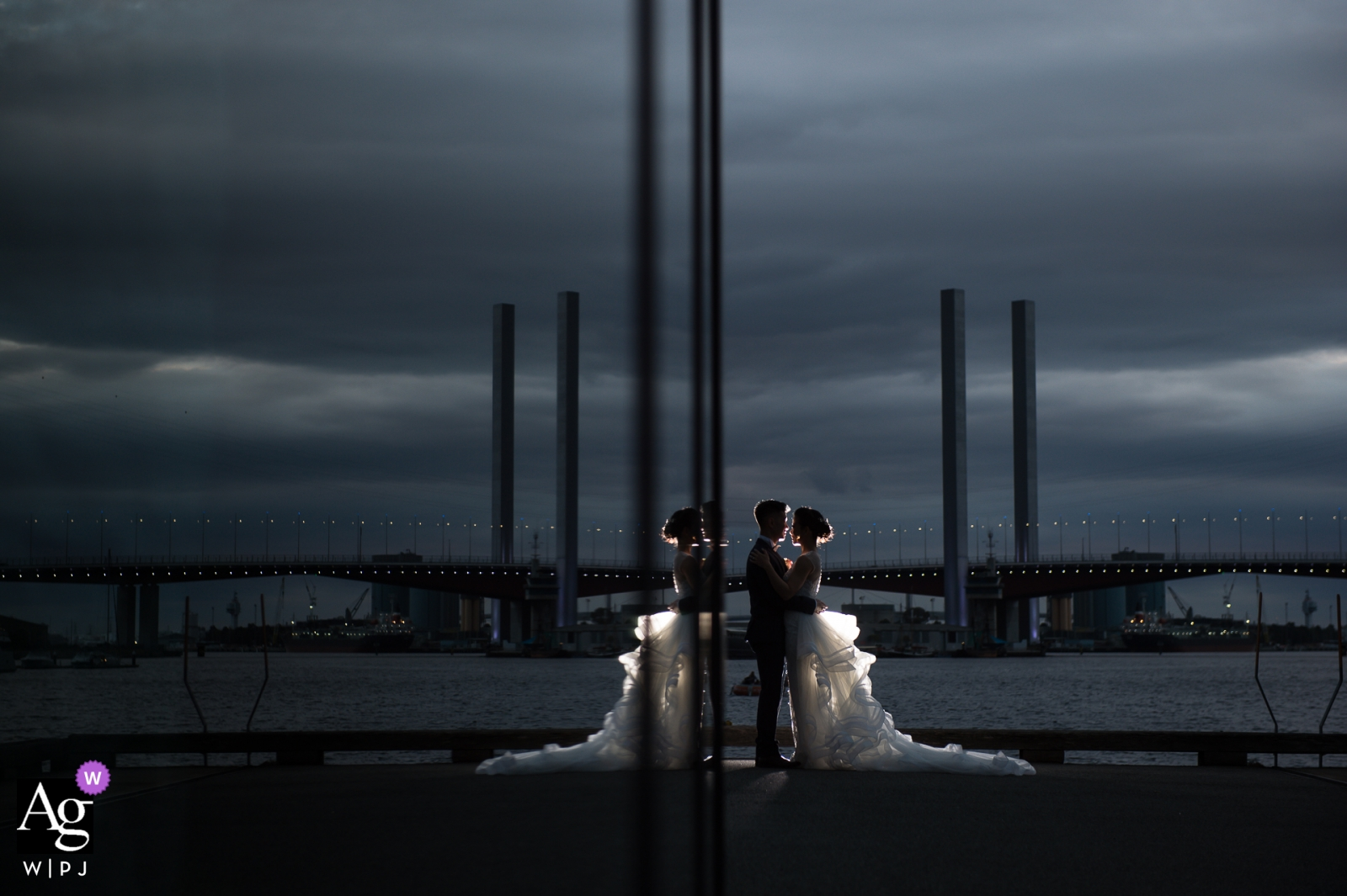 Melbourne Bride and groom portrait at dusk with the light