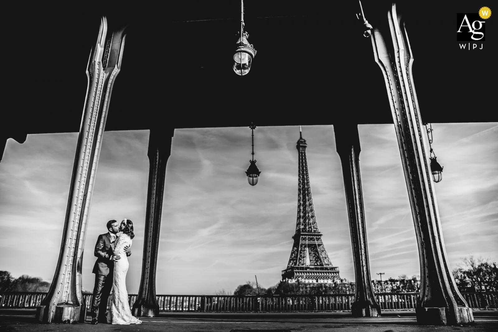 Paris - France Eiffel Tower portraits of the bride and groom - Under the bridge