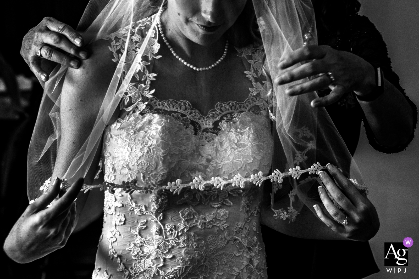 Springfield Manor Winery Distillery - Wedding Photography of Bride's mother helps her put on her veil
