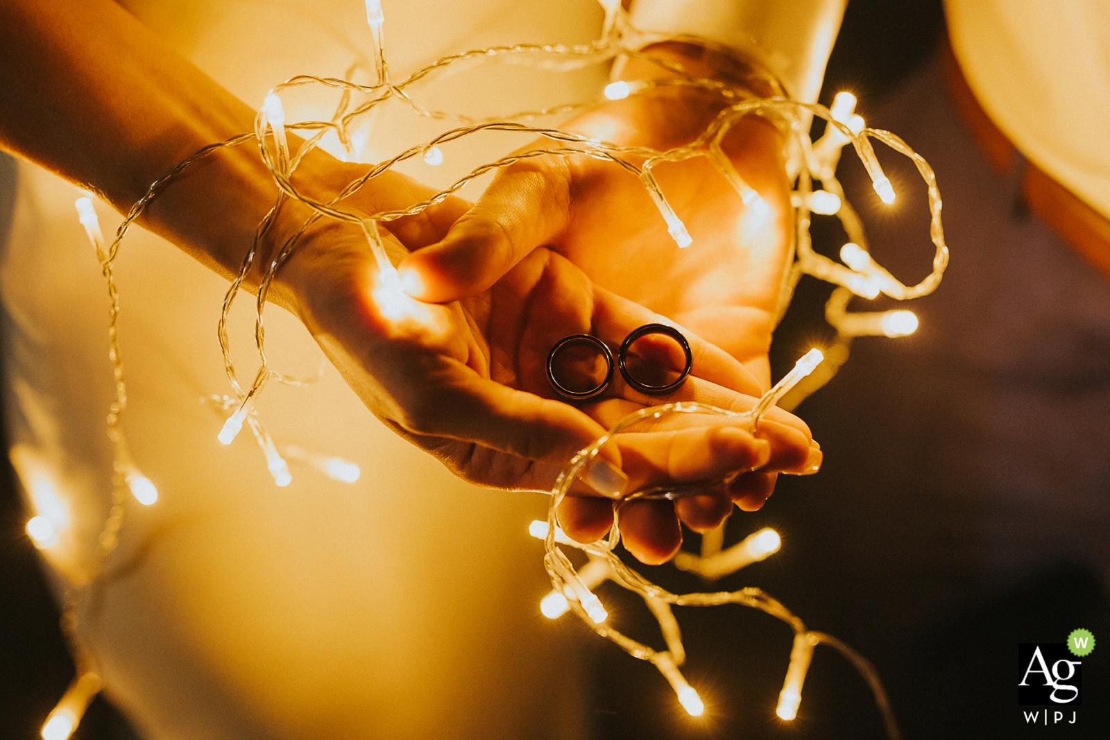 Masarykov Dvor, Slovakia wedding venue photographer said: I use battery lights for lighting wedding rings