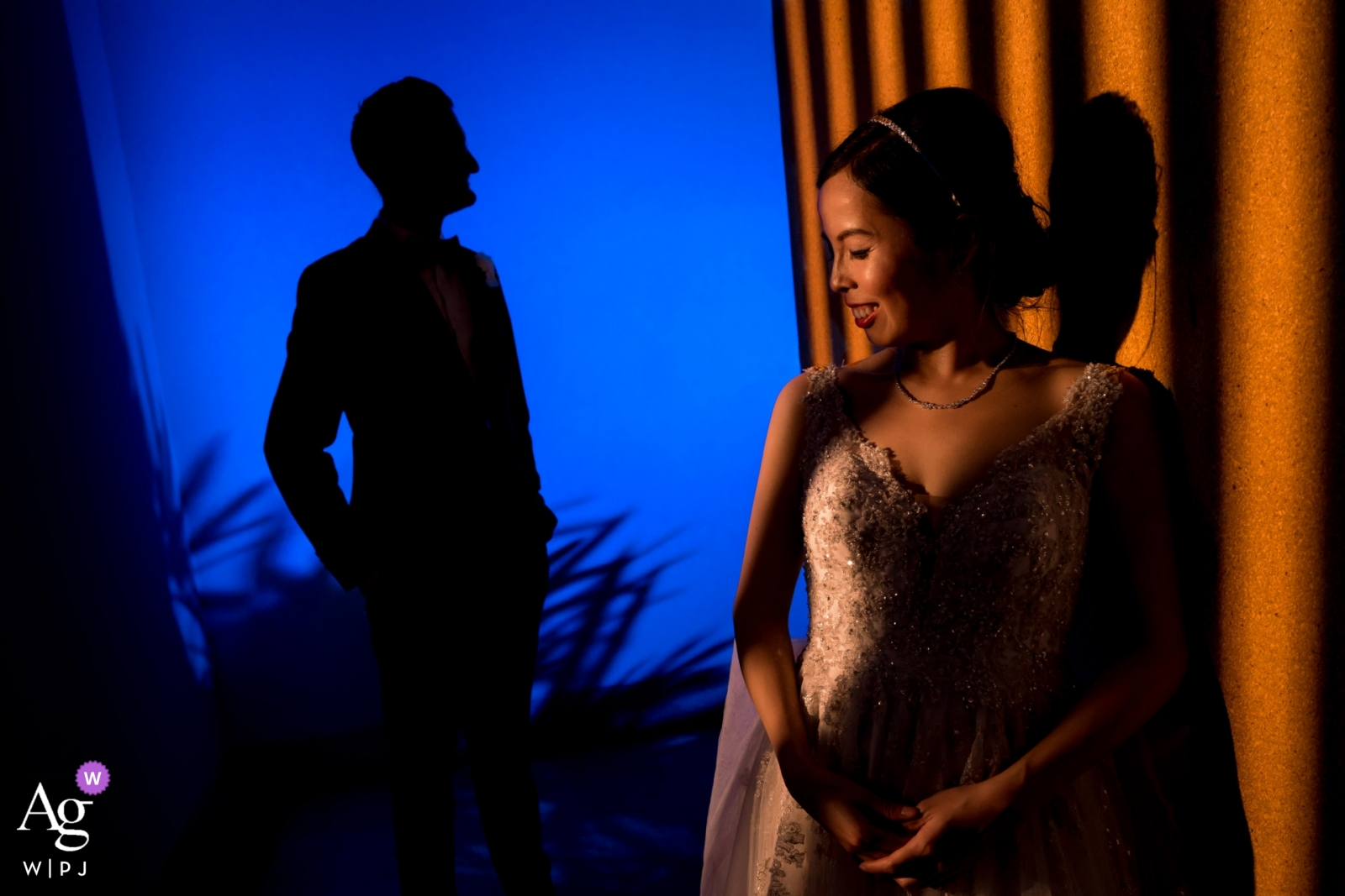 Phuket, Thailand Wedding Portrait Photographer - Creative lighting for this bride and groom image