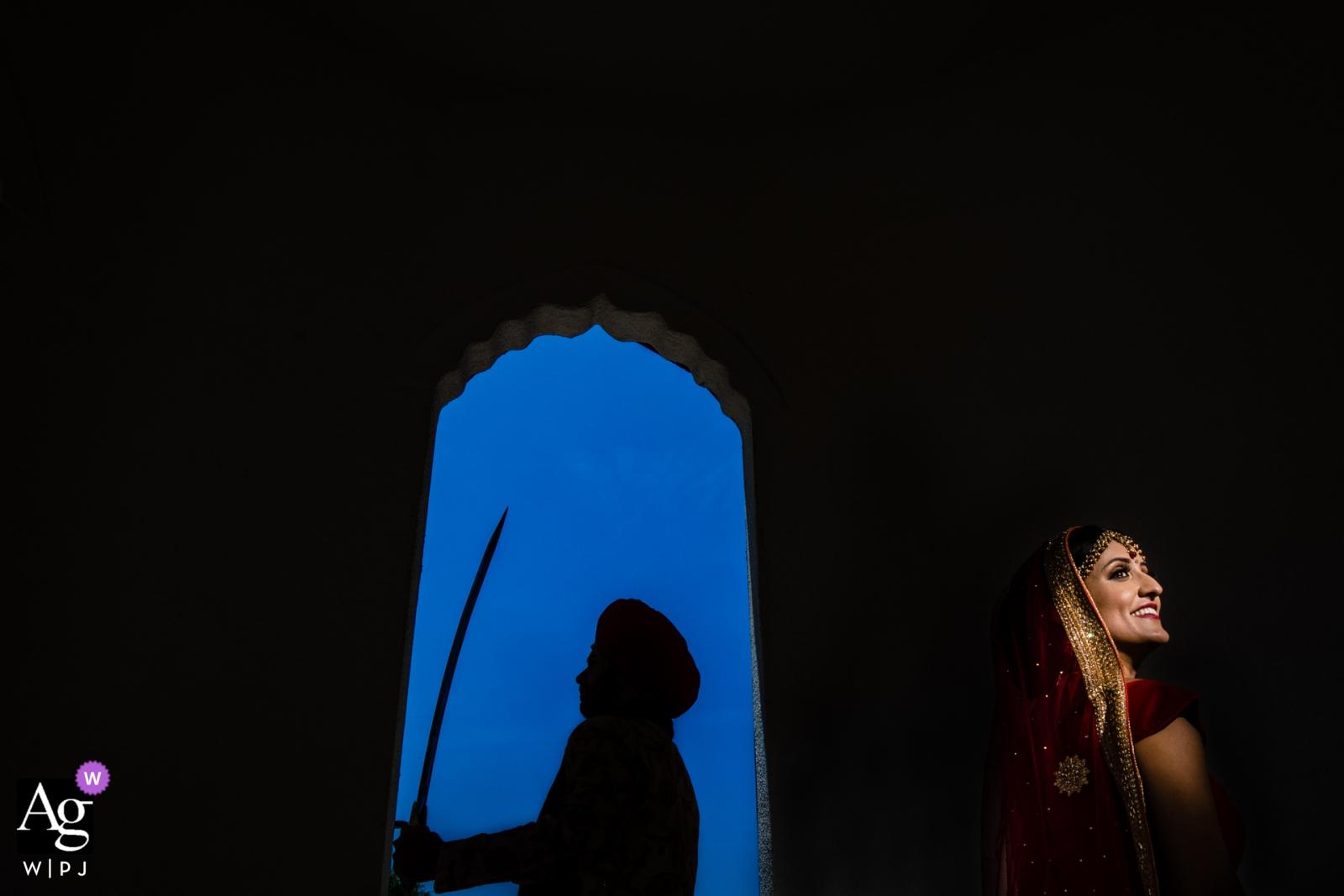 Modesto, CA-huwelijksfotografie - bruid en bruidegomportret