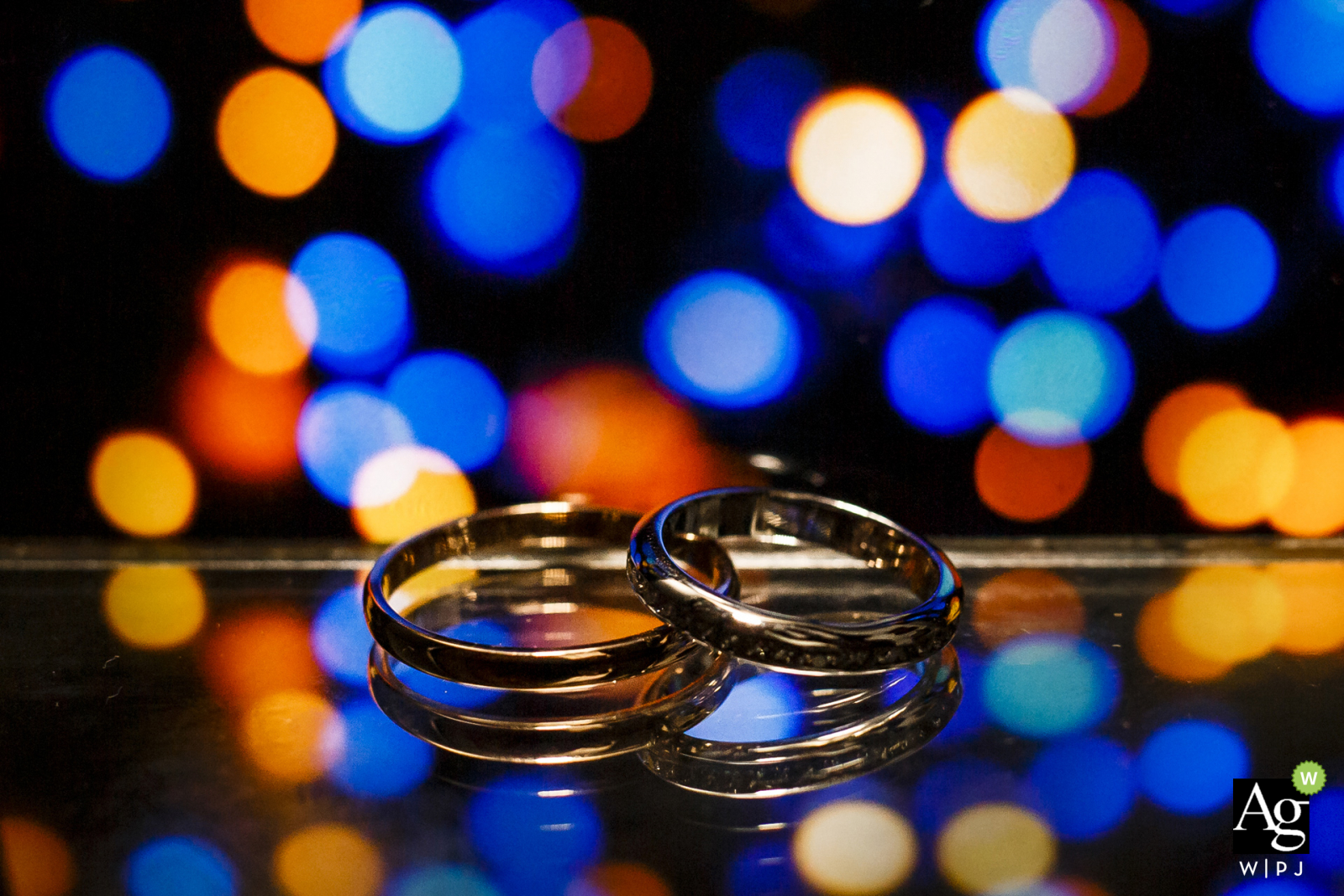 Istanbul Turkey wedding detail photo of the rings with bokeh lights