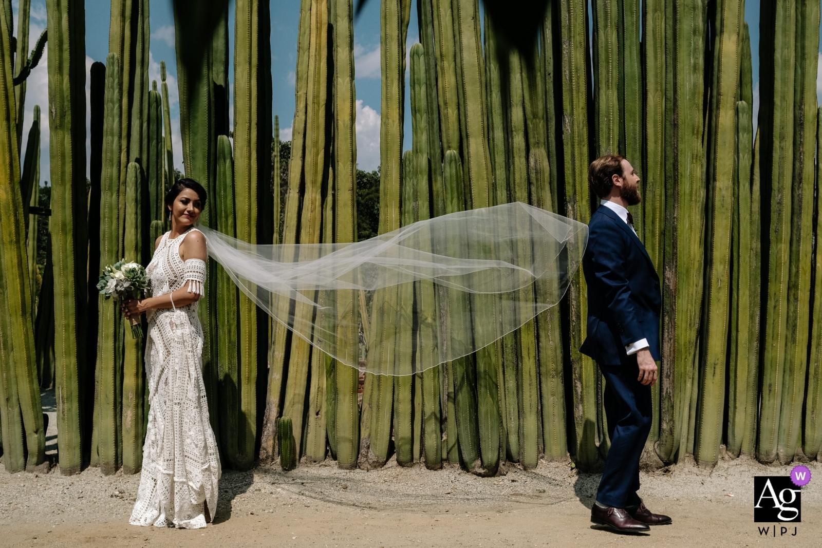 Jardin Etnobotanico de Oaxaca - Wedding Photography, Newlywed portrait