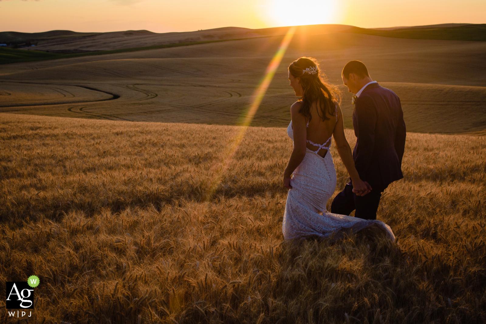 Palouse, Washington bride groom portrait   Wedding day photo session at sunset