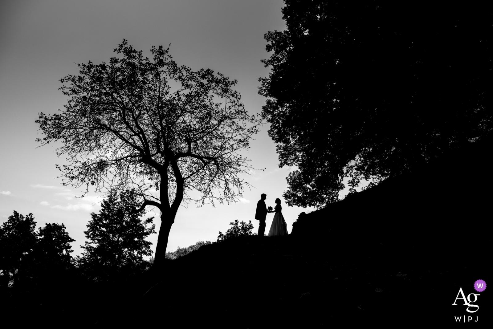 Jelenov Greben, Slovénie portrait en silhouette noir et blanc de la mariée et du marié avec des arbres