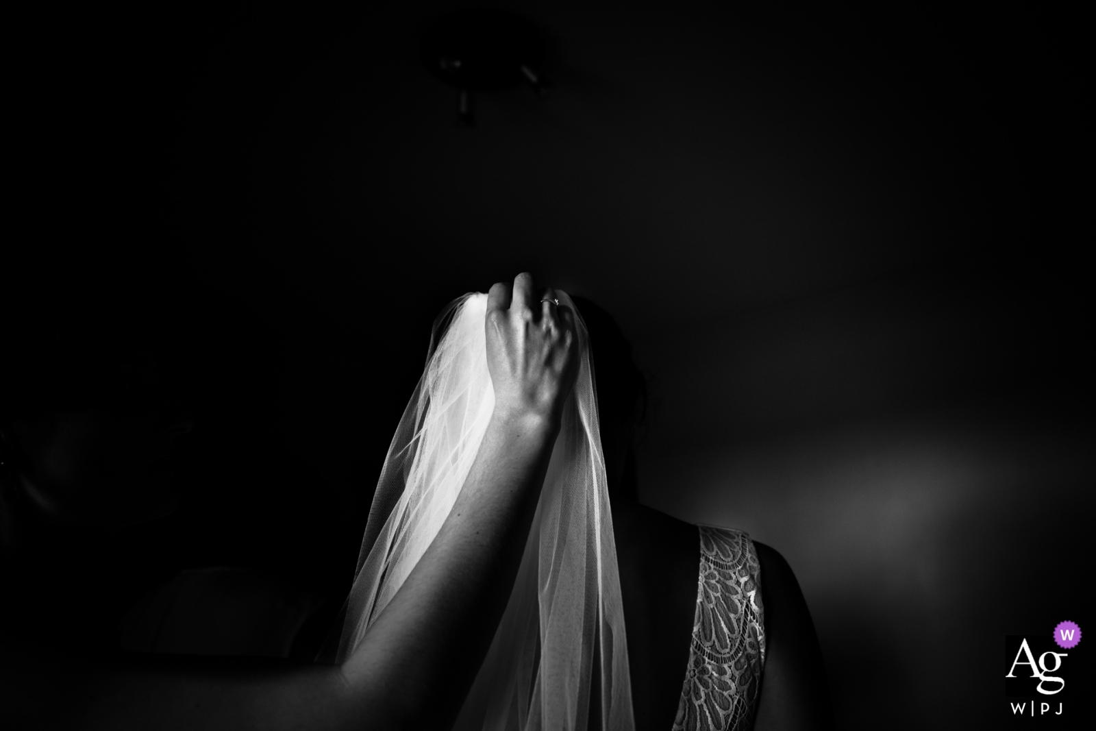 ain velo de novia con mano en blanco y negro