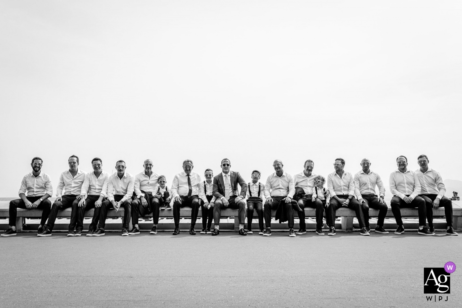 Groom, groomsmen, bestmen, father all together for a wedding at  Croisette, Cannes, France