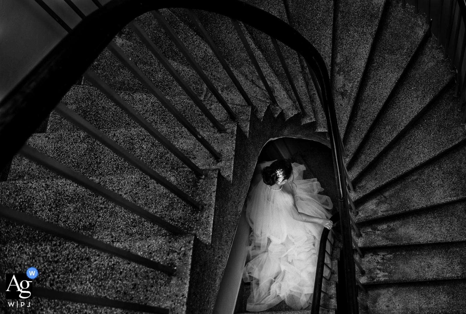 Ho Chi Minh Chinese-Hochzeitsfotograf - Porträt der Braut auf Treppe