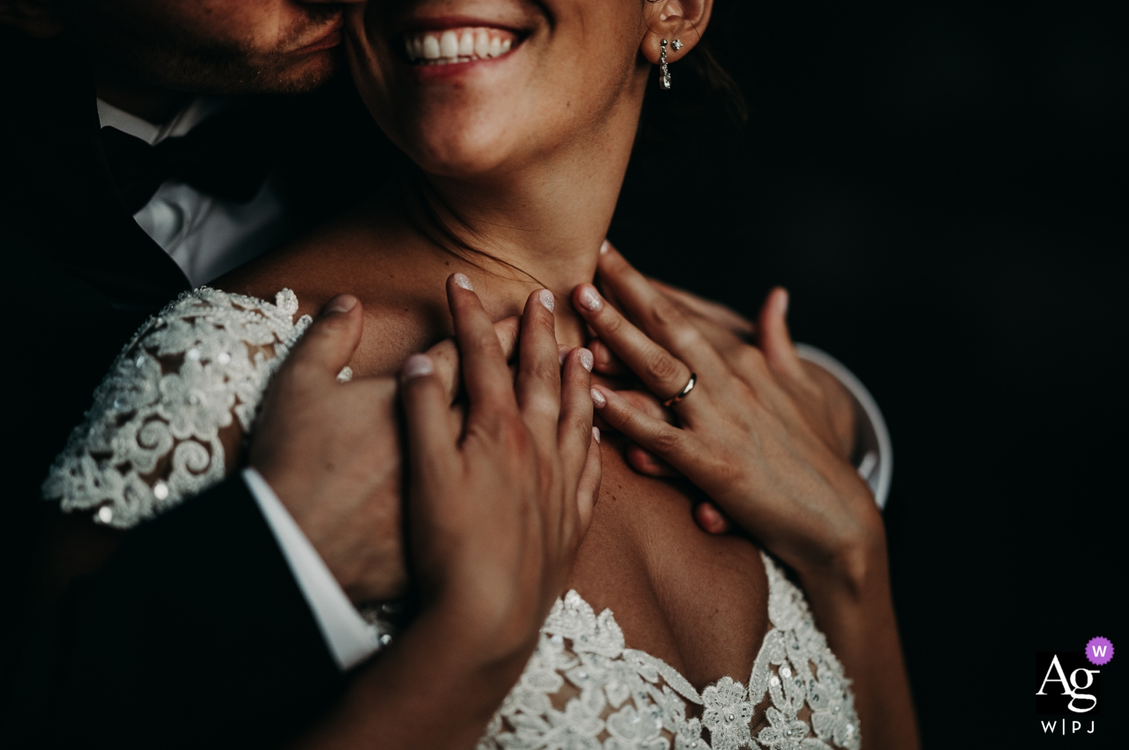 Apulia bride and groom portrait - tender crossing of hands in a intimate moment