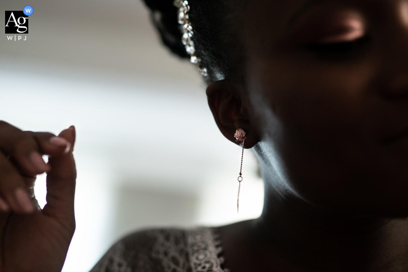 Domaine du Bessac (Frankreich) - Detailfotografie des Ohrrings vom Hochzeitstag