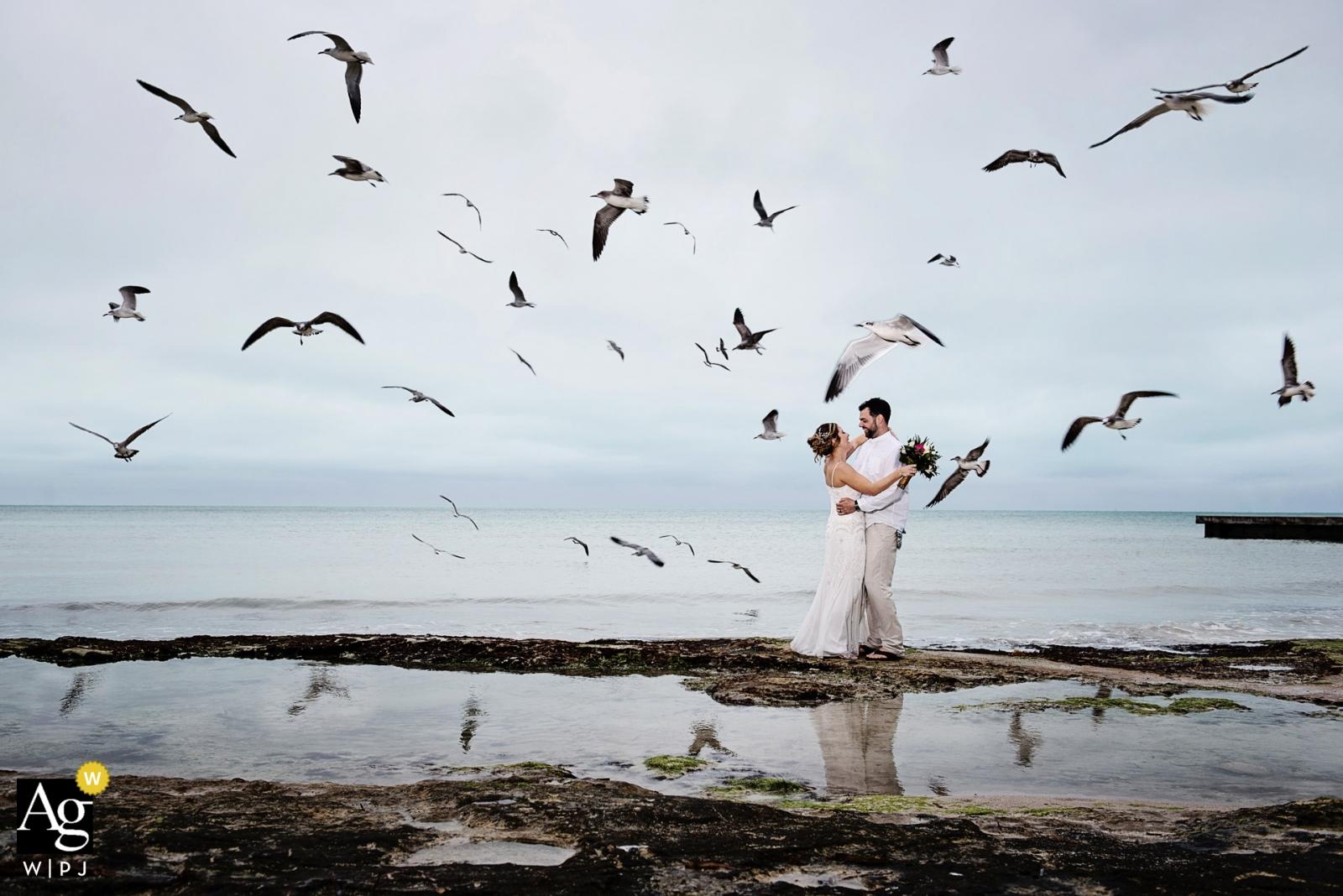 Florida-Hochzeitstagporträts bei Southernmost auf dem Strand - Paar, das mit Seemöwen aufwirft