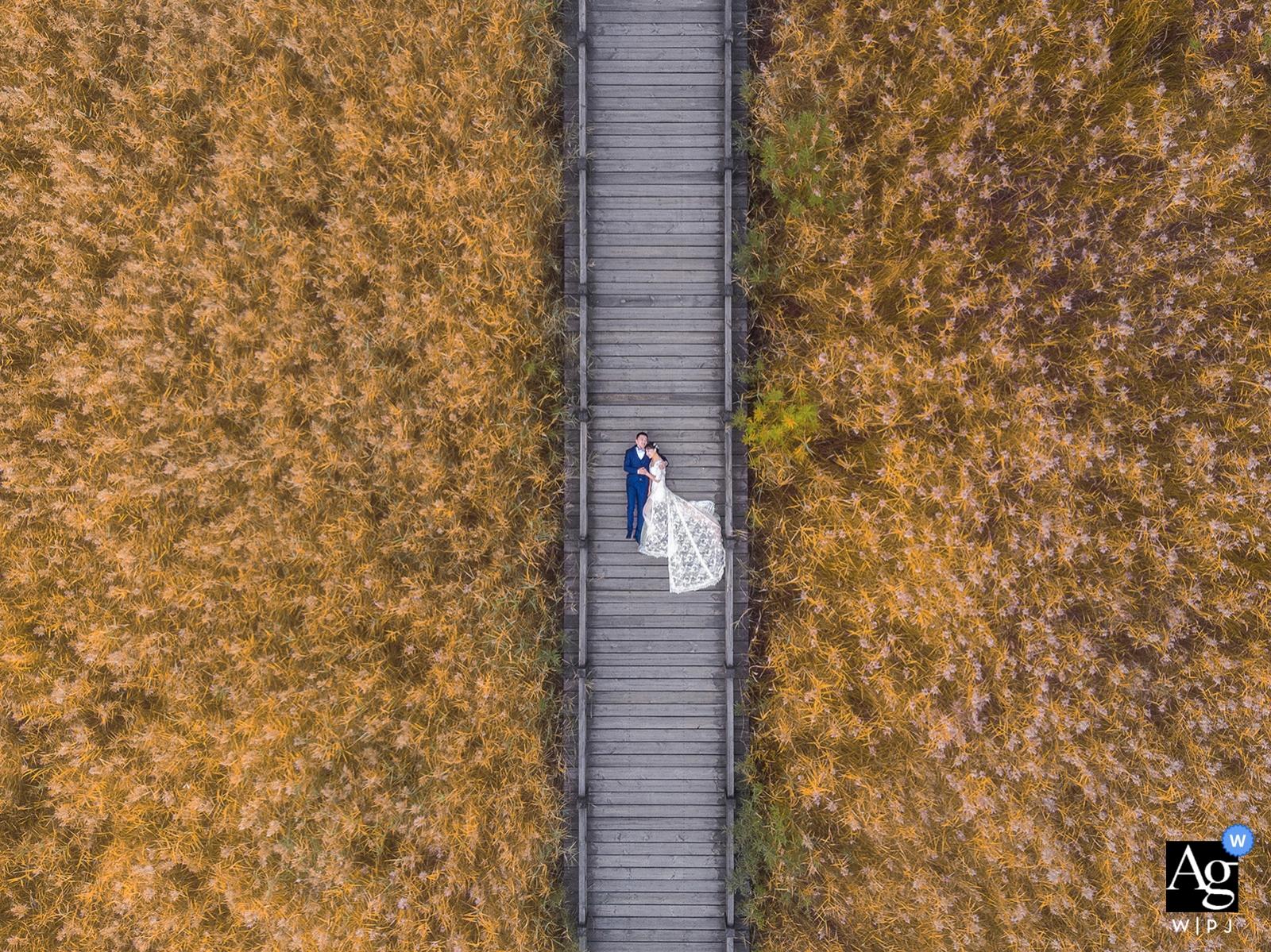 China-arial Brummenportrait der Peking-Braut und des Bräutigams