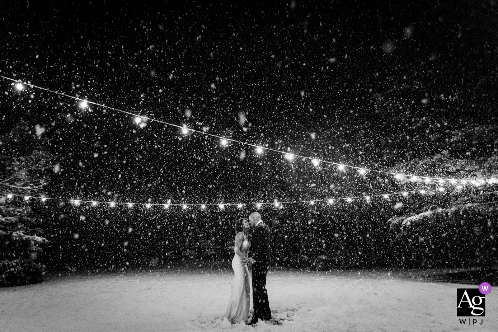 Victor, Idaho portrait in snow | Bride and groom creative photography at night