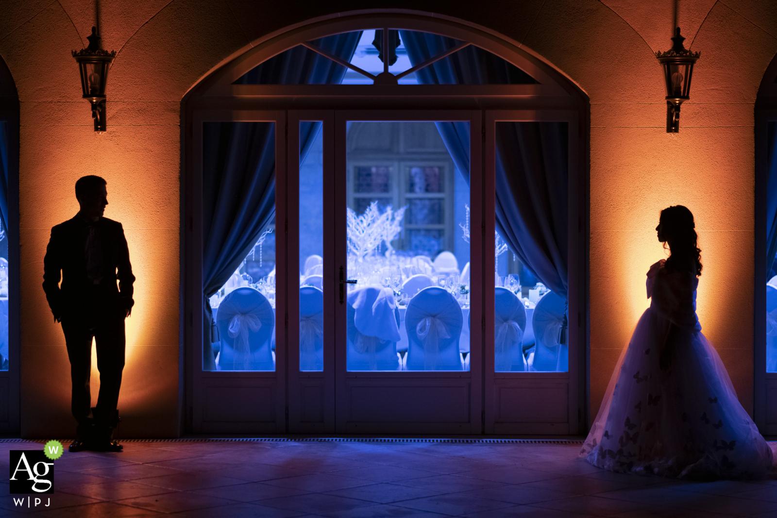 Auvergne-Rhône-Alpes wedding reception venue photo - couple behind the reception hall before the reception party