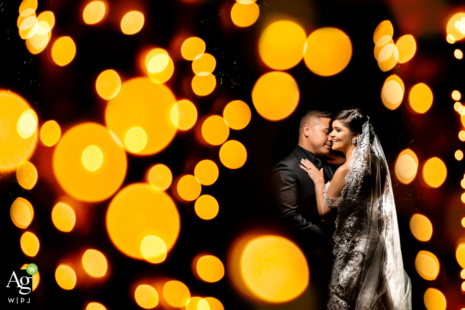Caribbean wedding photographer at the Reception - Bride & Groom's House Subject between 2 palm trees with christmas lights for bokeh. 1 flash behind couple to pop from background and 1 main flash for subjects.
