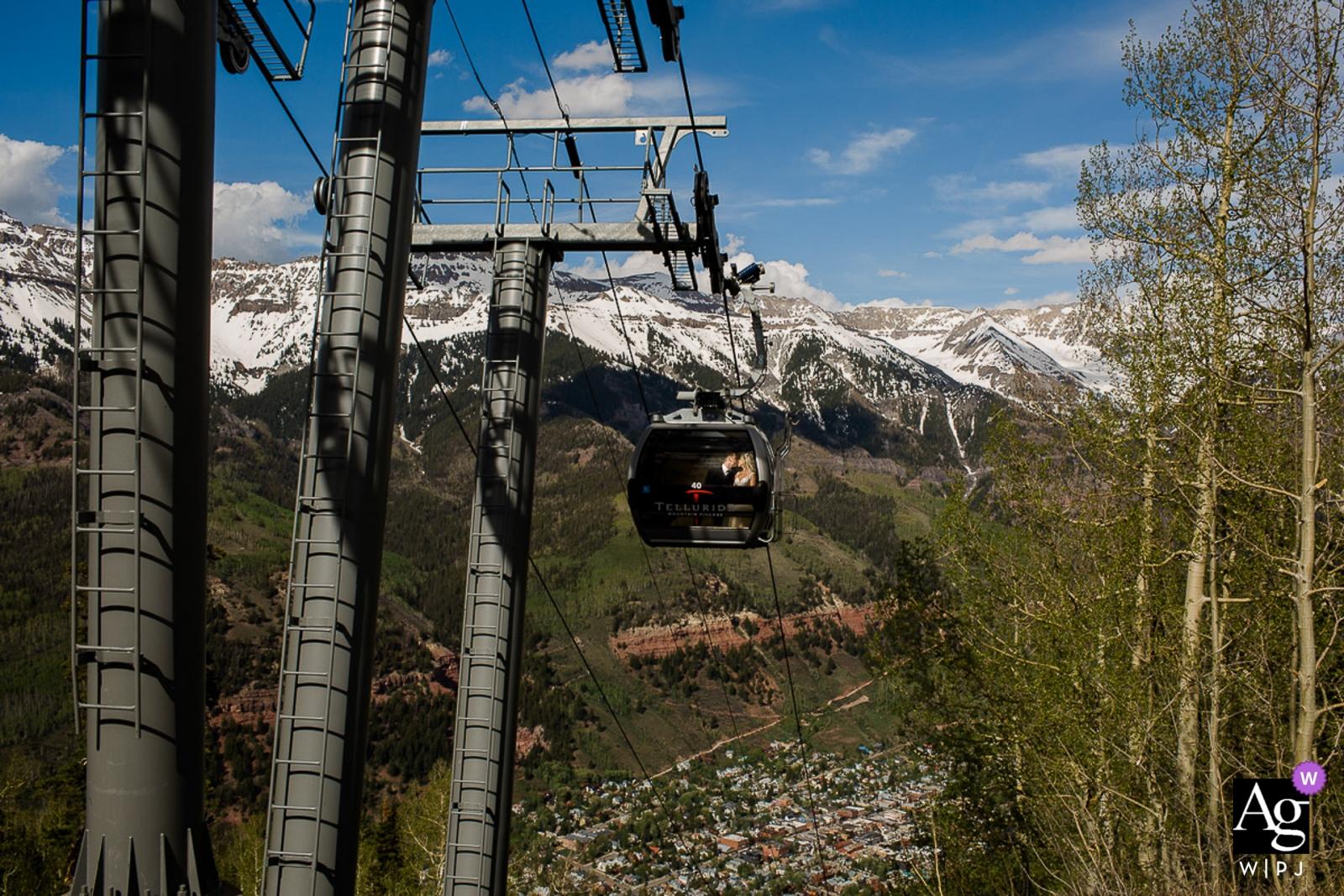 Colorado Ski Resort Couple going down gondola | CO wedding portraits