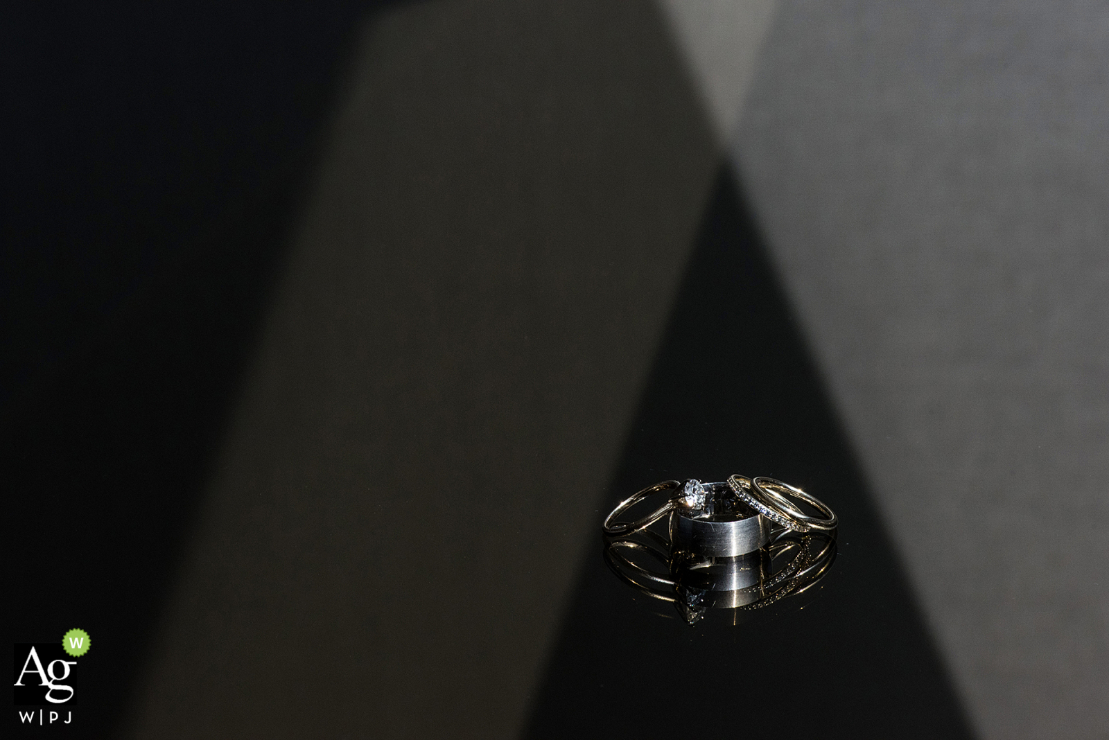 Reno, NV Photography | Wedding rings with light and reflection.