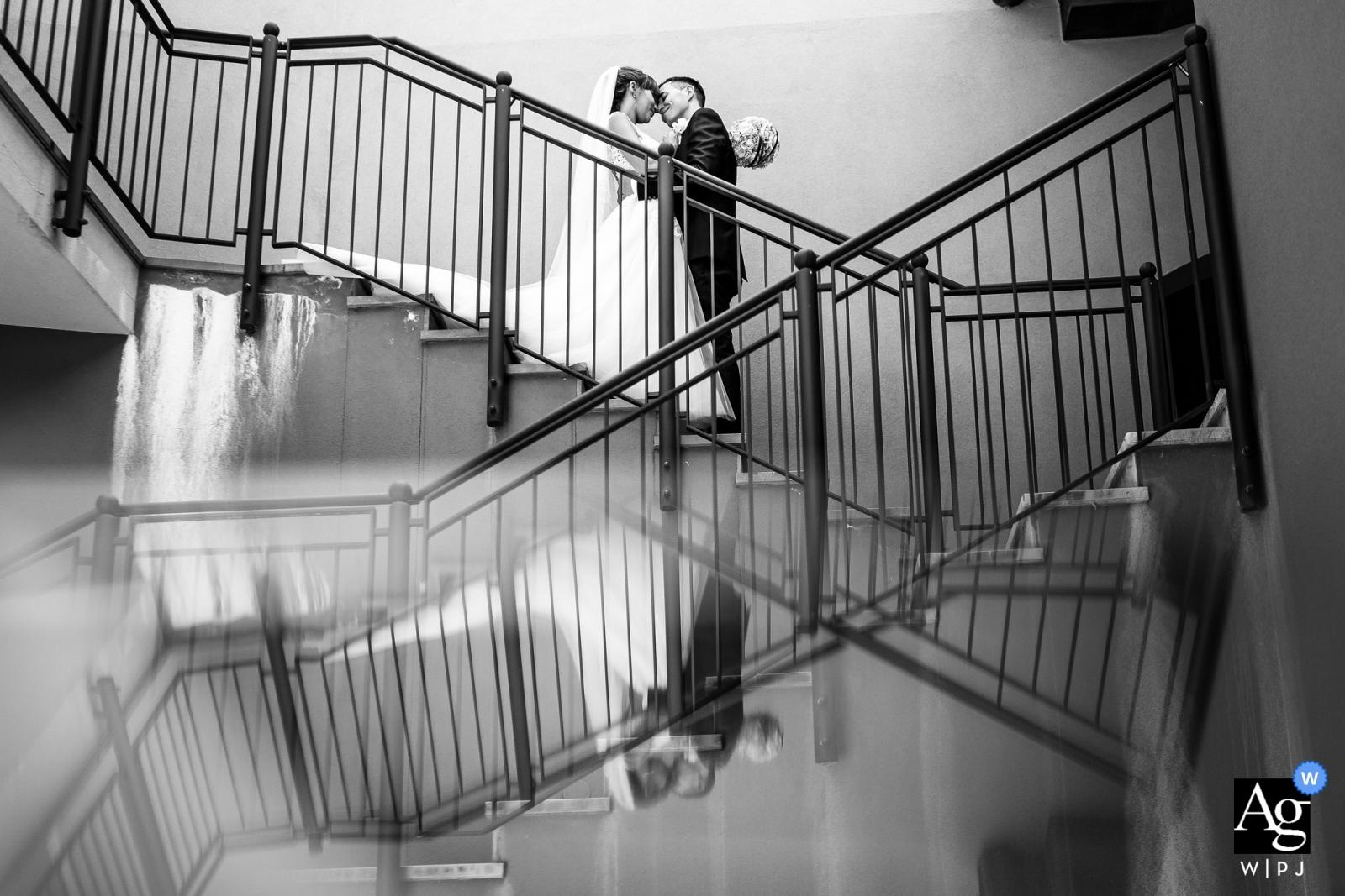 Portopiccolo Sistiana, Trieste, Italy Wedding Photography   Bride and groom reflections