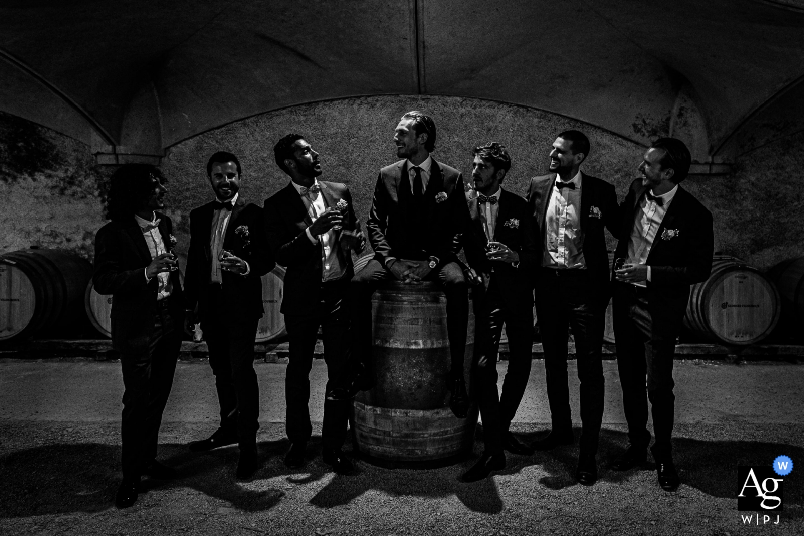 Chateau de Mercues, France wedding photo   Groom and groosmen at the cave