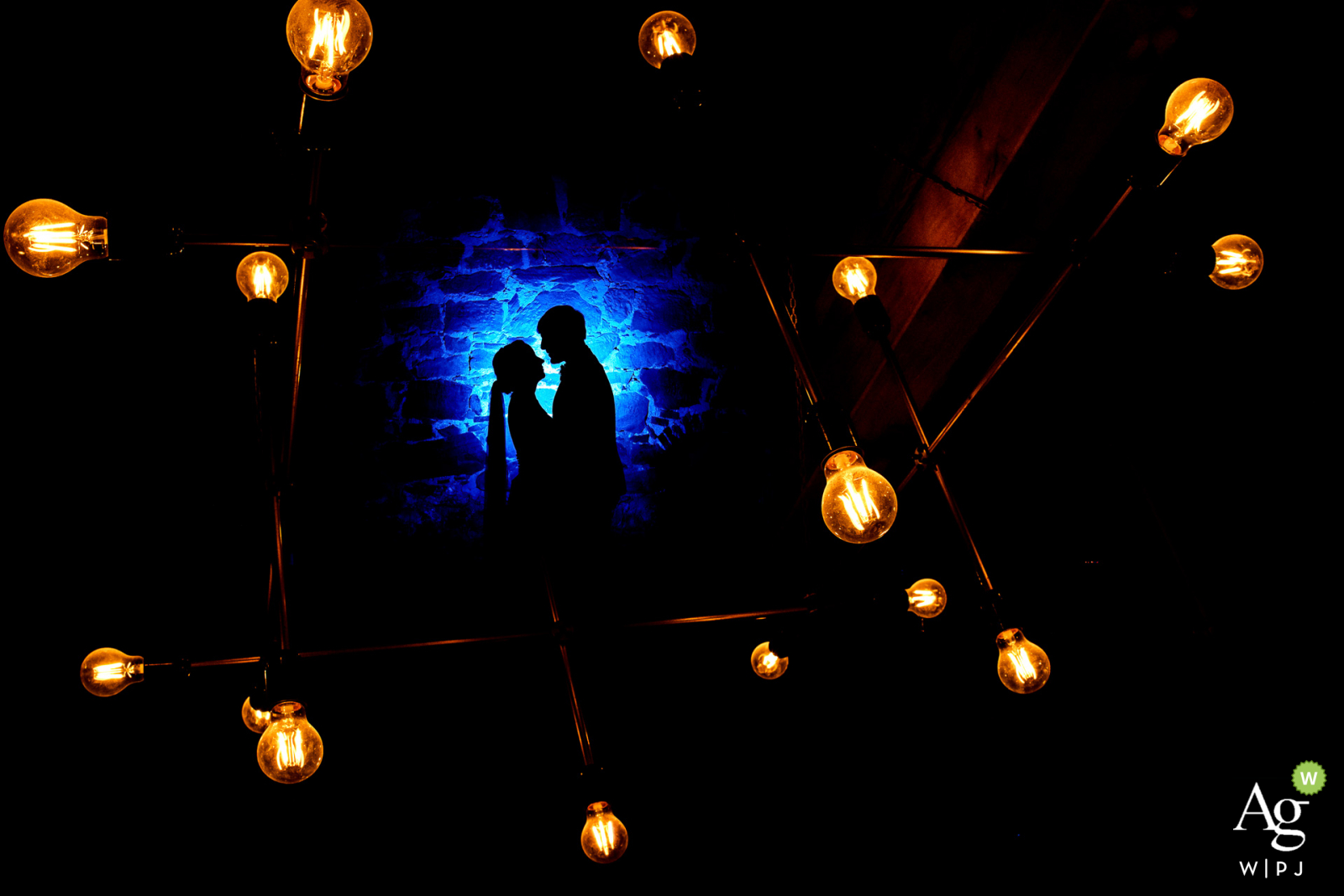 Germany photographer at the wedding venue Schlosshotel Michelfeld   Silhouette portrait of the couple with spot light
