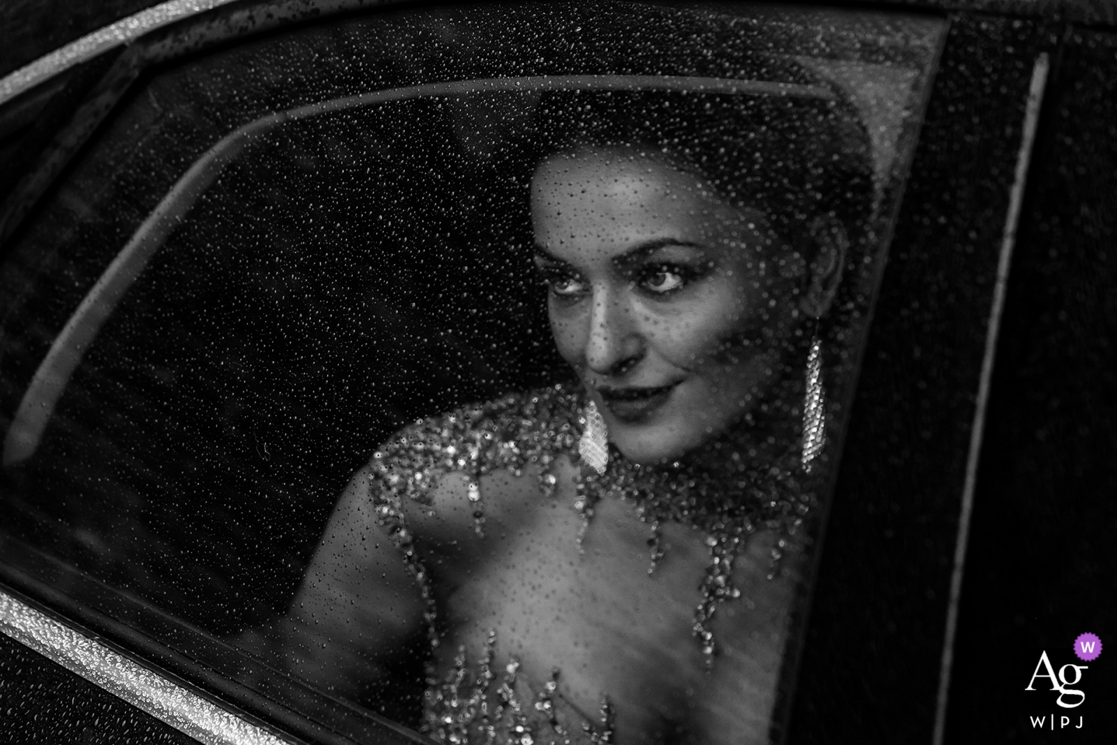 Chicago limo bride portrait on wedding day | Creative black and white photography